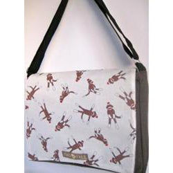 Handmade Medium Brown Sock Monkeys Messenger Bag