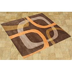 Handmade Chocolate Brown Wool Rug (6' Square)