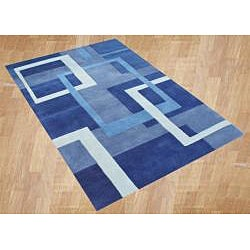 Handmade Metro Blue Wool Rug (8' x 10')