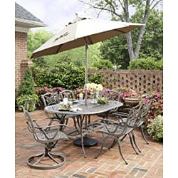 Home Styles Malibu Cast Aluminum Taupe 7-piece Outdoor Dining Set