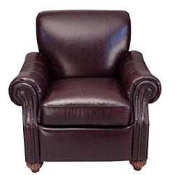Fitzgerald Leather Press Back Chair in Antique Burgundy