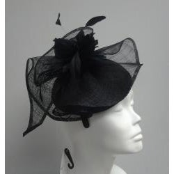 Swan Hat Black Elegant Cocktail Fascinator
