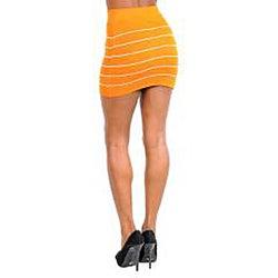 Stanzino Women's Orange Yellow Striped Bandage Mini Skirt