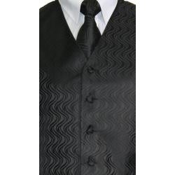 Ferrecci Men's Black Vest Tie 4-piece Accessory Set