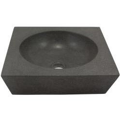 Round Incline Concrete Grey Vessel Bathroom Sink