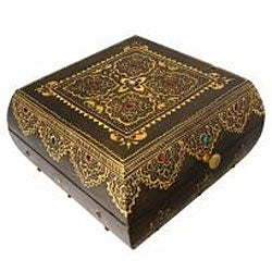 Embossed and Hand Painted Wooden Decorative Jewelry Box (India)