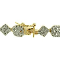 High-polish 18-karat Gold-over-silver Diamond-accent Bracelet