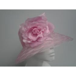 Swan Women's Pink Braided Crinoline Floppy Hat