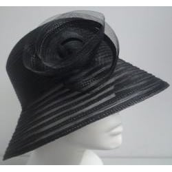Swan Women's Black Braided Floppy Bucket Hat