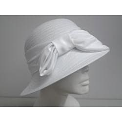 Swan Women's White Satin Bow Crushable Bucket Hat