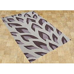 Handmade Flame Inspiration Hushed Violet Wool Rug (4' x 6')