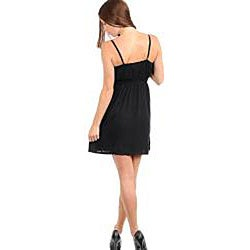 Stanzino Women's Black Ruffle Spaghetti Strap Dress