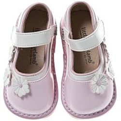 Little Blue Lamb Toddler Pink Flower Suede-Leather Squeaky Shoes