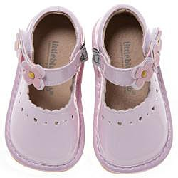 Little Blue Lamb Toddler Pink Flower Leather Squeaky Shoes