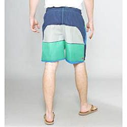 Zonal Men's 'Word E-Board' Green/ Blue Swim Shorts