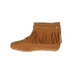 Refresh by Beston Women?s 'Mini-01' Chestnut Fringe Ankle Booties