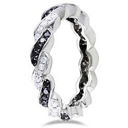 Miadora 14k White Gold 5/8ct TDW Black and White Diamond Ring (G-H, SI1-SI2) (Size 6.5)