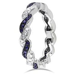 Miadora 14k White Gold 3/5ct TGW Sapphire and 1/3ct TDW Diamond Ring (G-H, SI1-SI2) (Size 6.5)