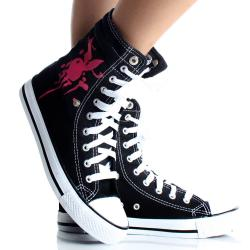 Playboy by Beston Women's Black High-top Sneakers