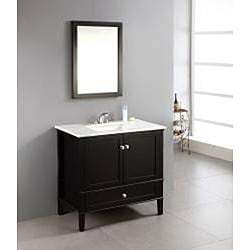 Overstock Bathroom Vanities on Windham Black 36 Inch Bath Vanity With 2 Doors  Bottom Drawer And