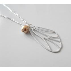 Adrienne Audrey Jewelry Silver Butterfly Necklace with Bronze Pearl