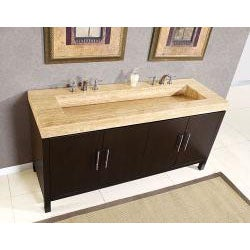 72-inch Modern Travertine Stone Top Integrated Sink Bathroom Double Vanity Cabinet