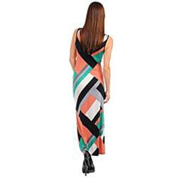 Stanzino Women's Black Aqua Pink Printed Casual Maxi Dress