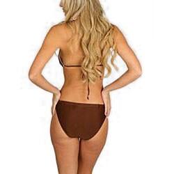 Stanzino Women's Brown Contrast Trim Halter Bikini