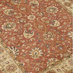 Hand-made Taj Mahal Rust New Zealand Wool Rug (5' x 8')