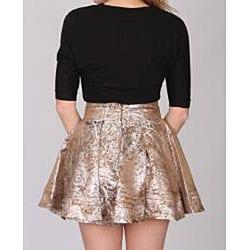 Norma Jeane Junior's Metallic Gold Jacquard Skirt
