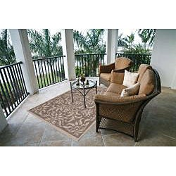Garden Town Collection Beige Area Rug (7'10 x 10'3)