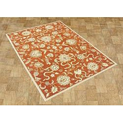 Alliyah Handmade Rusty Orange New Zealand Blend Wool Rug (6' x 9')