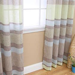 Horizontal Stripe Faux Linen Grommet Curtain Pair (84 inches)