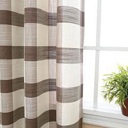Checkered Faux Linen Grommet 84inch Curtain Pair