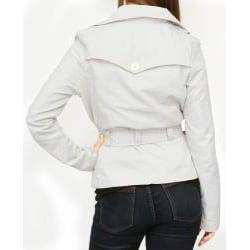 Jou Jou Juniors' Silver Sateen Belted Jacket