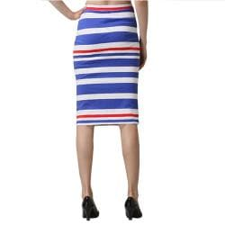 Tabeez Women's Striped High Waist Sheath Skirt