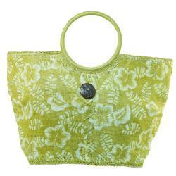Cappelli Hibiscus Print Straw Tote Bag