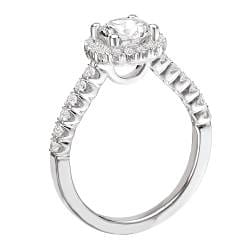 14k White Gold with CZ Center and 0.35ct TDW Diamond Engagement Ring (GH, SI1-SI2)