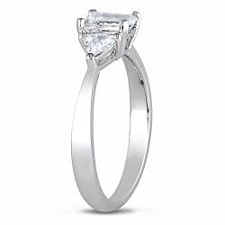 Miadora Platinum 1ct TDW Diamond 3-stone Engagement Ring (G-H, I1-I2)