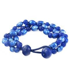 Blue FW Pearl and Quartzite 3-strand Bracelet (8-9 mm)