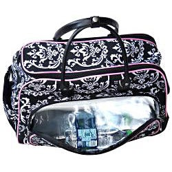 Jenni Chan Damask 20-inch Black Pink Carry On Upright Duffel Bag
