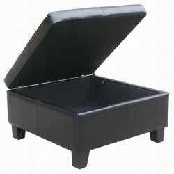 Black Leather Tufted Square Storage Bench Ottoman