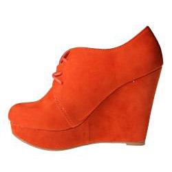 Refresh by Beston Women's 'GENESIS-01' Orange Wedge Ankle Booties