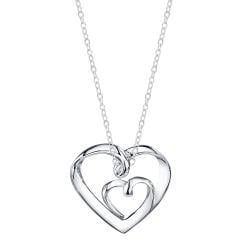 Silver 'A Mother's Love is Always with Her Children' Heart Necklace