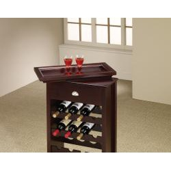 Wooden Cappuccino Finish 16-Bottle Wine Rack Tray Top