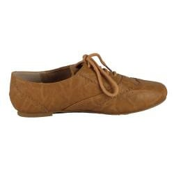 Modesta by Beston Women's 'Maya-04' Cognac Lace-up Oxfords
