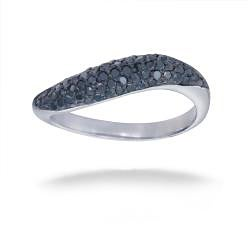 Sterling Silver 1/2ct TDW Black Diamond Curved Ring