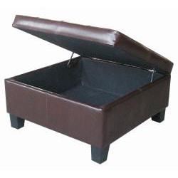 Espresso Leather Tufted Square Storage Bench Ottoman
