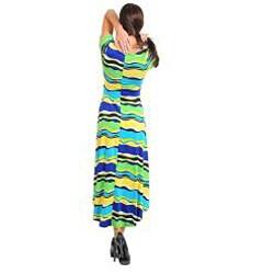 Stanzino Women's Short Sleeve Wave Print Maxi Dress with High-Low Hemline