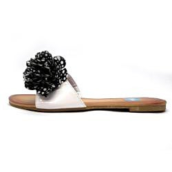 Blue Women's White Polka-dot Rosette Slide Sandals